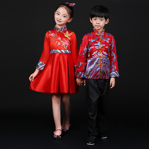 Chinese dragon drummer performance costumes for boy girls Children new year costume Tang costume boys and girls Chinese New Year day opening ceremony chorus performance Hanfu