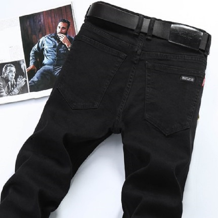 新款秋冬款男士纯黑色直筒牛仔裤男修身男式休闲牛仔库弹力牛子裤