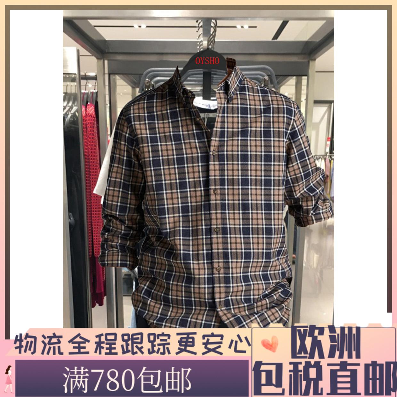 西班牙代购Massimo男士秋冬宽松款肯特领棉质格子衬衫0128144