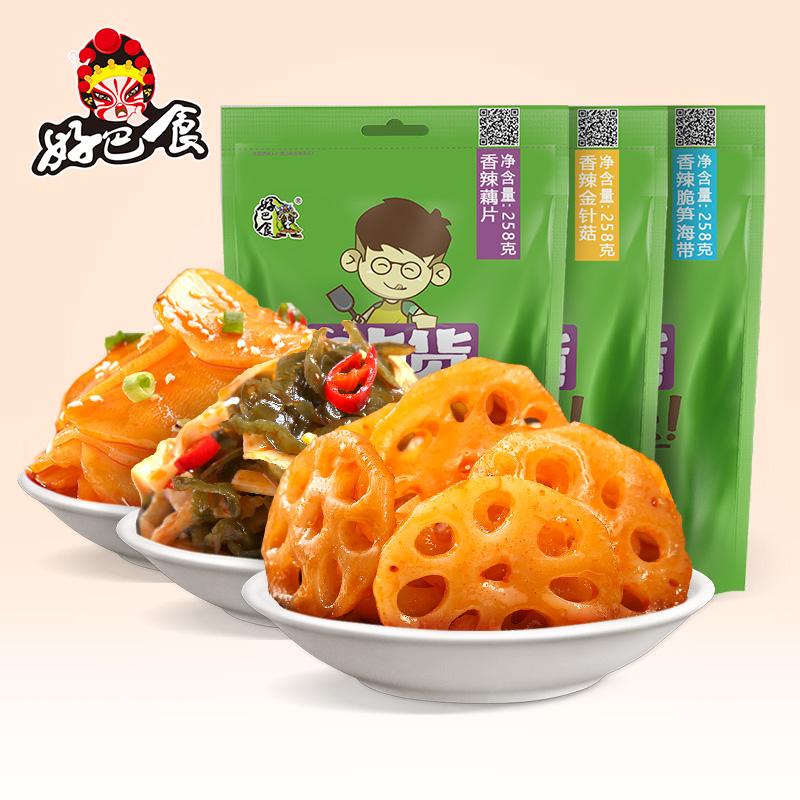 好巴食 金针菇香辣藕片小包装下饭菜麻辣零食小吃散装包邮258g*3