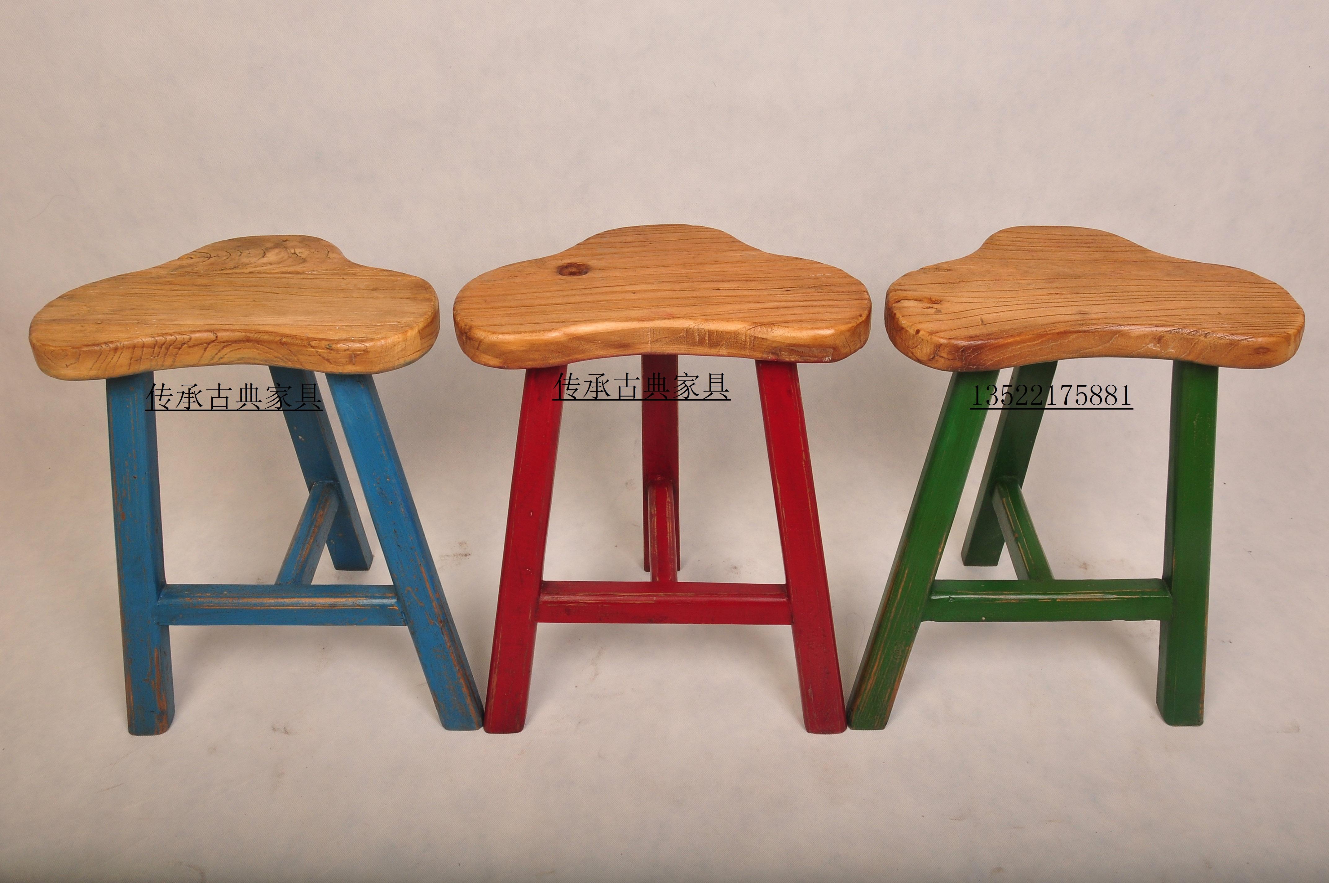 名称:彩色中式梅花凳实木小板凳时尚创意小凳子实木凳子儿童凳榆木图片
