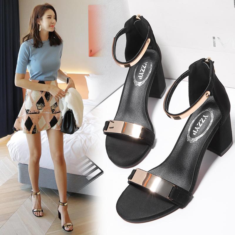 凉鞋女夏中跟高跟鞋2018新款夏季百搭一字扣带粗跟罗马凉鞋女鞋子