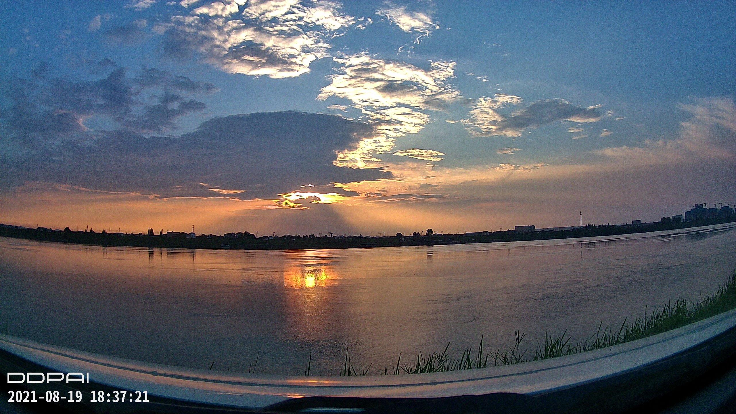 夕阳西下 很久很久没有见过这种风景了  视频 常德 第1张