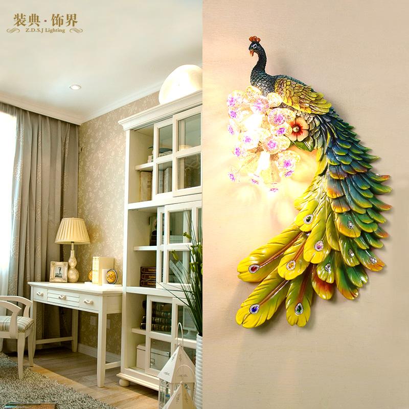 北欧式客厅装饰个性过道床头卧室楼梯间壁灯影视创意孔雀走廊墙灯