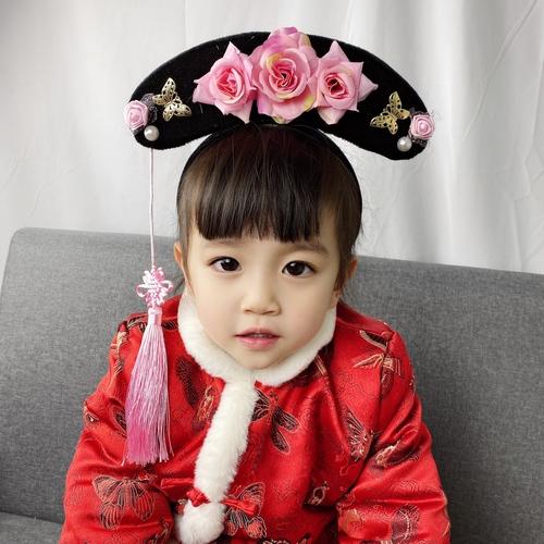 Children's ancient headdress Manchu gege banner head Qing Dynasty little girl's hair hoop ancient hat props