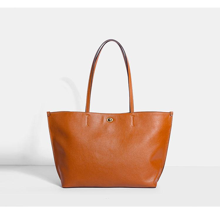 她时光原创头层牛皮单肩购物袋 百搭真皮通勤女包大容量托特包