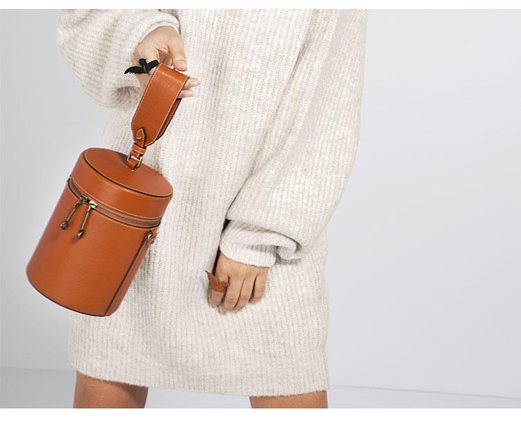 她时光HER TIME 独家设计师款圆桶包 头层植鞣牛皮女式手提斜跨包