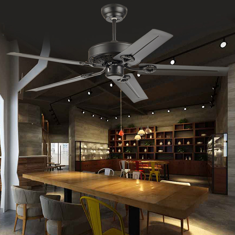 Usd 5183 no lamp ceiling fan restaurant minimalist black retro lightbox moreview mozeypictures Images
