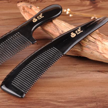 正宗大号牛角梳子正品天然防静电脱发纯刻字按摩木梳长发女家用