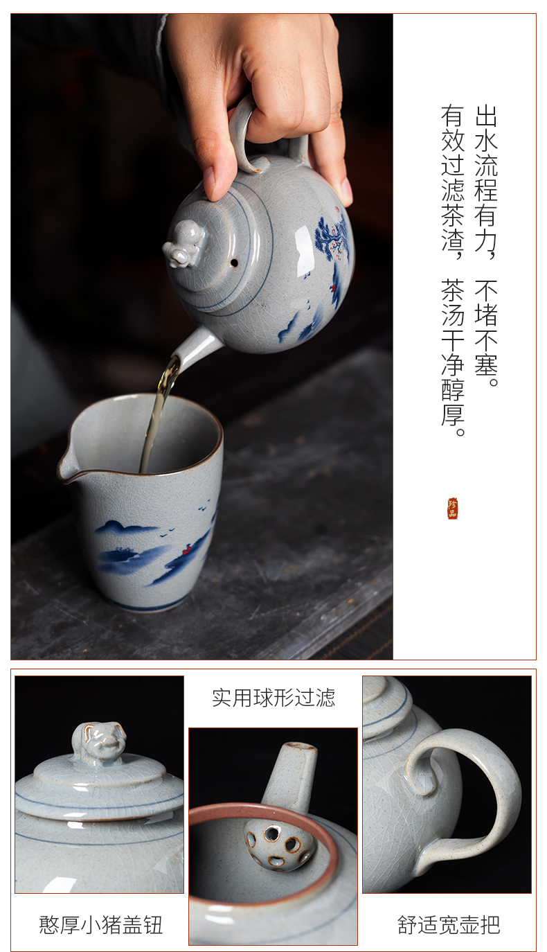 Elder brother up kung fu tea set suit household receives a visitor contracted tea teapot teacup tureen small sets of jingdezhen ceramics
