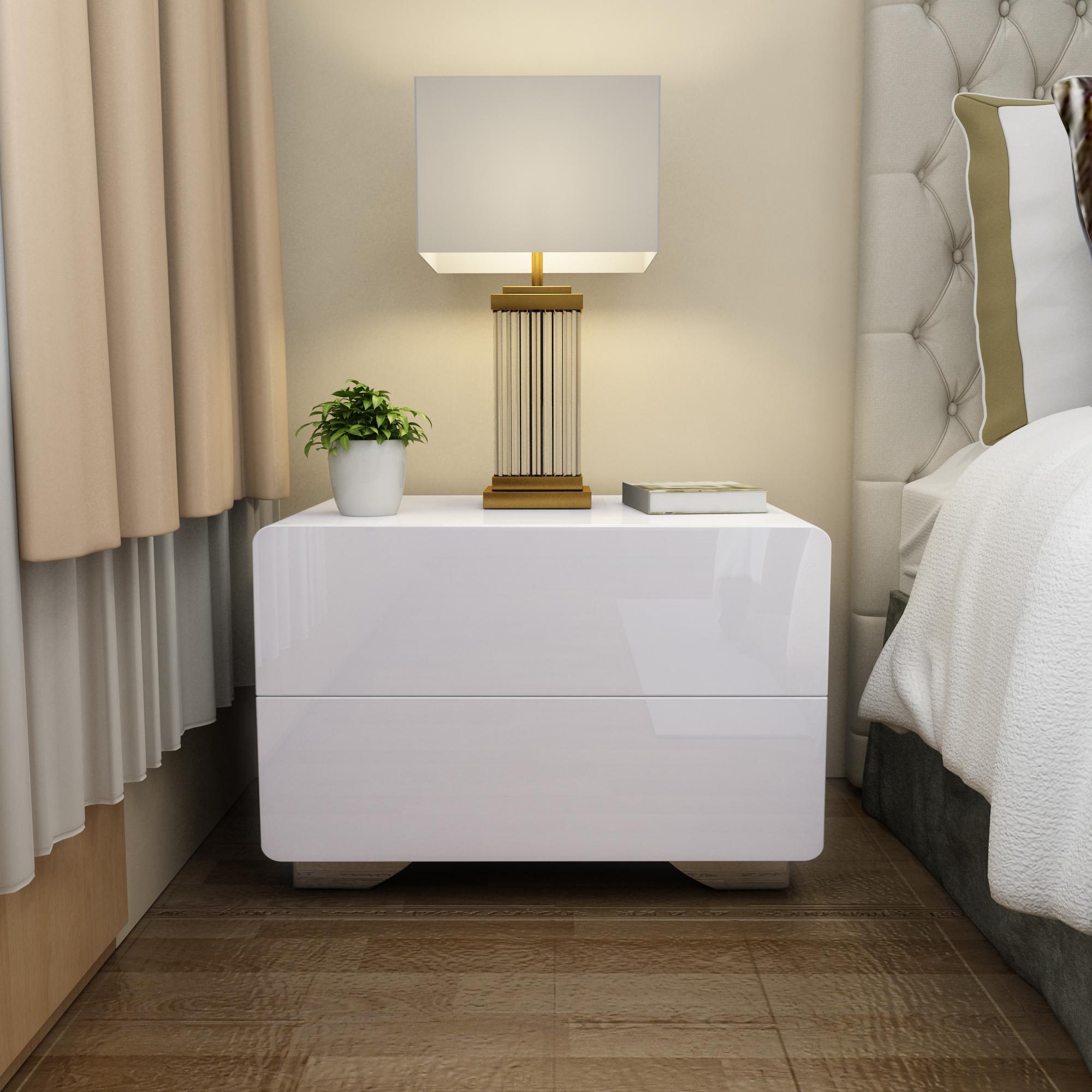 Table De Chevet Simple Peinture Blanche Moderne Chambre à