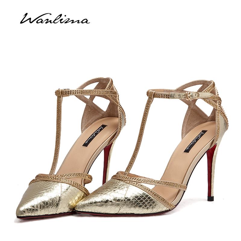 萬里馬2018春夏涼鞋女單鞋T型綁帶水鉆漆皮鏤空宴會高跟鞋蛇皮紋