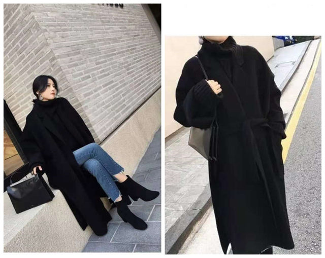 Counter-season double-faced cashmere coat women were thin and loose mid-length Hepburn wind wool black high cold thick coat high-end