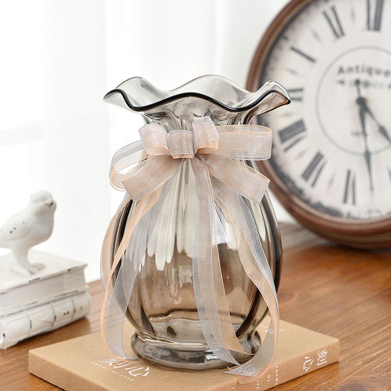 欧式波浪口创意玻璃花瓶透明彩色 客厅百合插花瓶电视柜装饰摆件