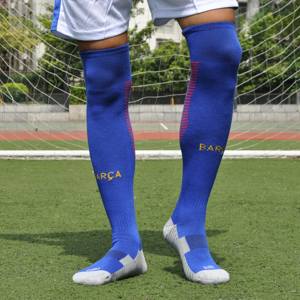 18e5a2be4 Adult children's soccer socks long tube men over the knee thickened towel  at the end of sports socks non-slip sweat training ball stockings