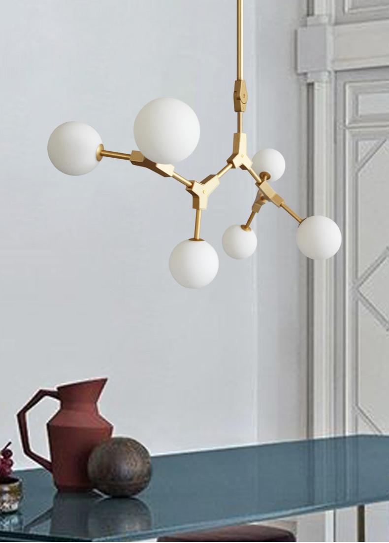 Glass Ball Lampshade Metal Creative LED Chandelier Light Modern style Interior Decor
