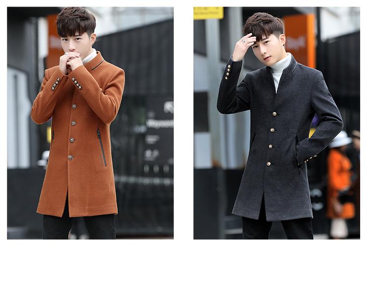 Men's wool coat in the long hair coat men's youth Korean version of the trend Chunqiu Nizi windshield man 47 Online shopping Bangladesh