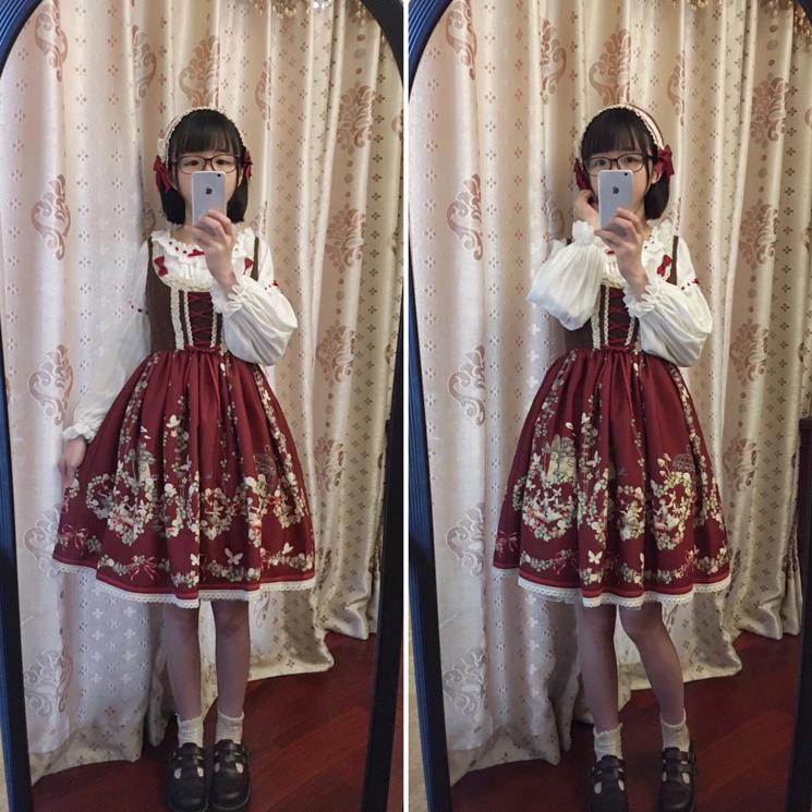 Цветы и эхо || Fleurs et écho || Пасхальное платье Fairy Print Lolita товар в наличии