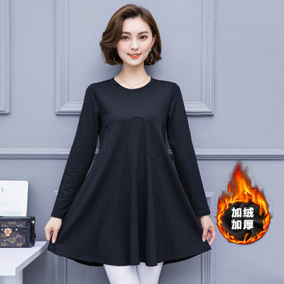 Fat sister 200 pounds plus velvet bottoming shirt 2017 winter large size women are thin in the long paragraph warm female long-sleeved T-shirt