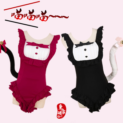 taobao agent Free shipping cute maid ruffled one-piece swimsuit sells cute soft and concave shape bow cat tail is thin