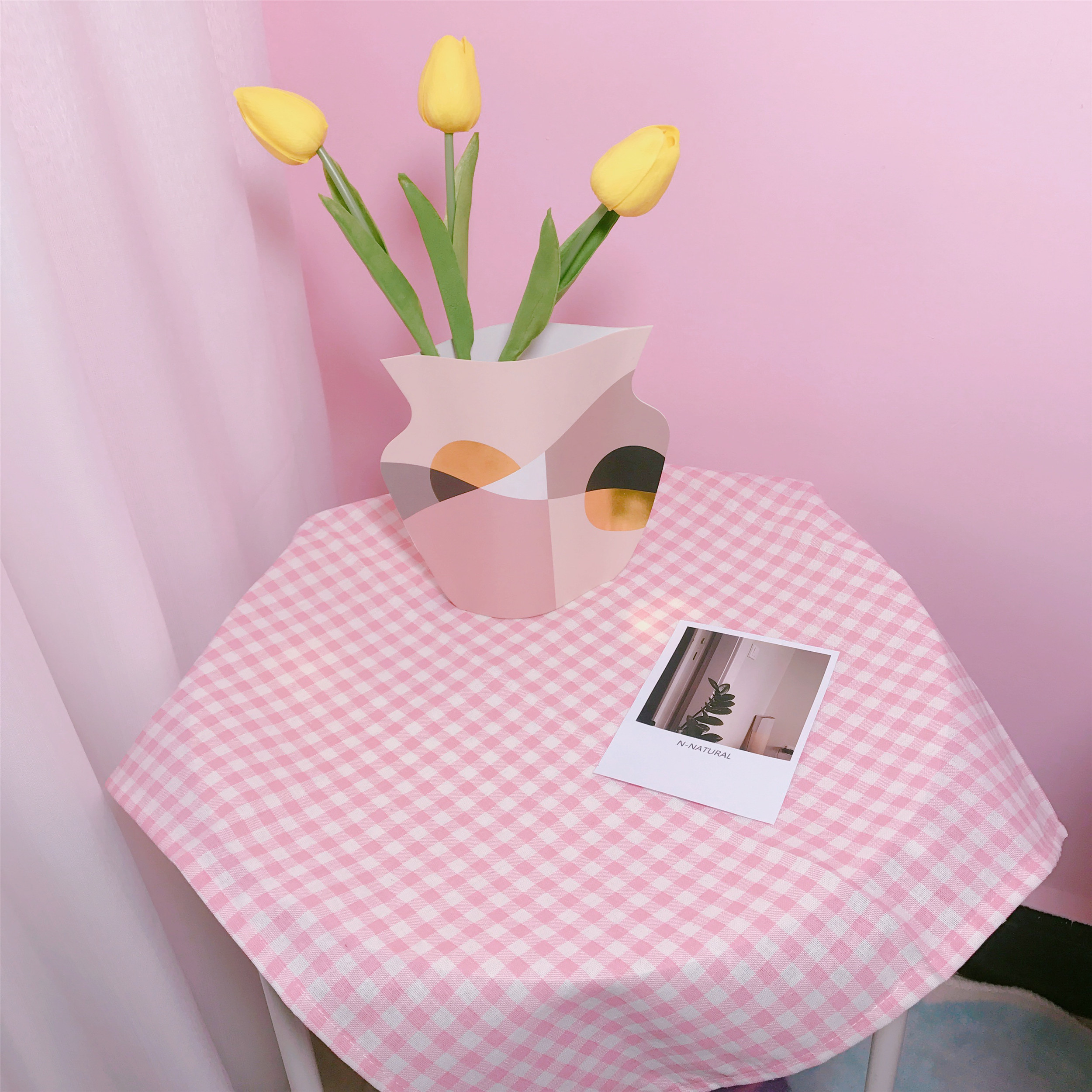 Korean Chic Girl Heart Pink Plaid Cute Sweet Shooting Background Cloth Tablecloth Room Decoration