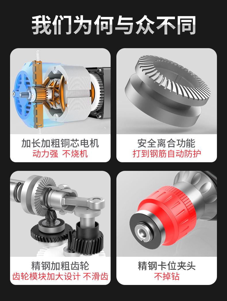 家用电锤电镐多功能冲击钻混凝土大功率工业级电钻捶重型电动工具商品详情图