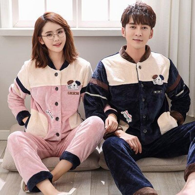 情侣睡衣女男士秋冬款珊瑚绒两件套装韩版可爱卡通法兰绒加绒加厚