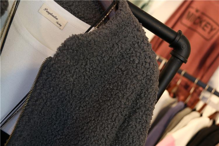 Hàn quốc áo len nữ phần dài Hàn Quốc phiên bản của lỏng thời trang dày màu rắn đứng cổ áo Han Fan Nizi áo mùa thu và mùa đông