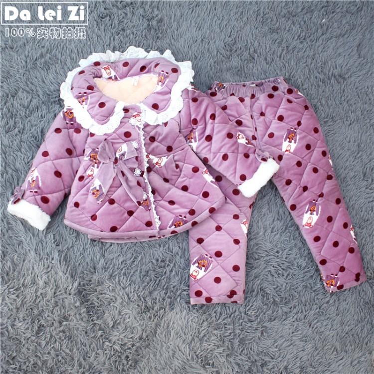 PINK洋气蕾丝花边公主冬季儿童加厚家居棉服女翻领珊瑚绒夹棉睡衣