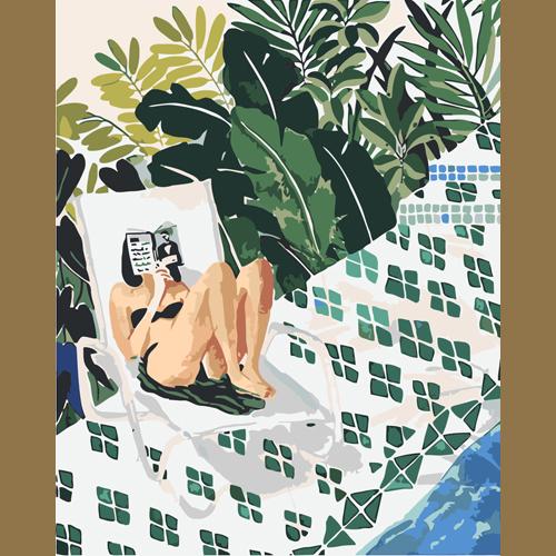 L0165 девушка у бассейна(Раскраска покупателя