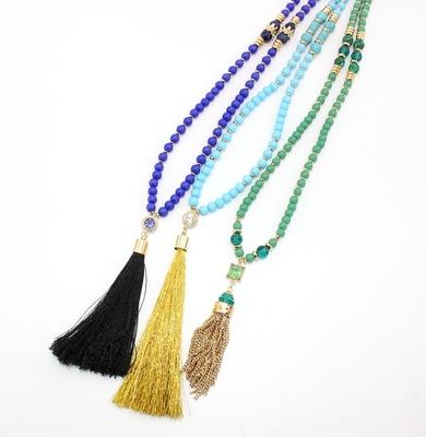 原创开发 欧美饰品 长款串珠个性项链 锆石镶嵌绳子链条流苏项链