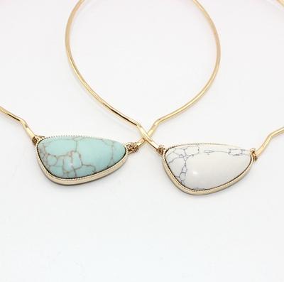 原创设计开发 欧美风饰品 铜圈纯手工铜丝缠绕 镶嵌松石项圈