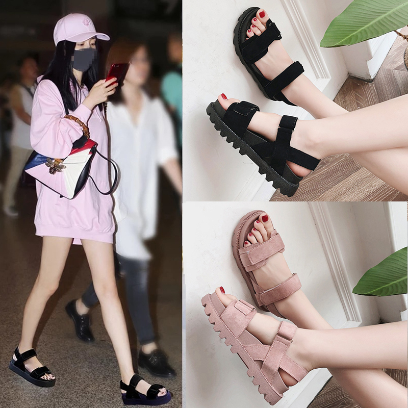 Sandals female students 2018 new summer women's shoes Korean version of Harajuku style flat bottom wild thick bottom cake women's shoes tide
