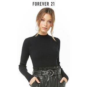Forever 21女装上衣毛针织衫纯色罗纹高领针织衫毛衣女
