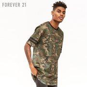Forever21 mùa xuân và mùa hè 2018 người đàn ông mới ngụy trang in quan điểm lưới ngắn tay T-Shirt