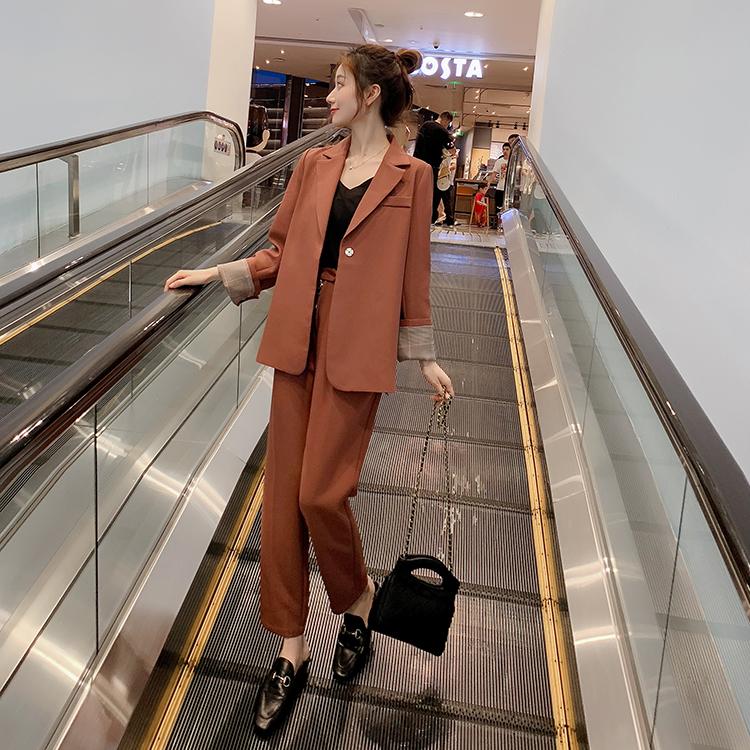 视频+实拍秋季网红风小西装套装女2019新款V领休闲西服外套