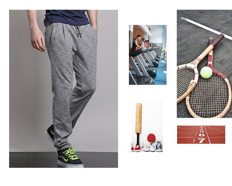 Markless mùa hè bó sát nam quần chùm giản dị của nam giới thẳng quần áo len chân lỏng lẻo quần Slim