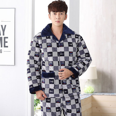 c1a24e190e Men s three-layer thick warm coral fleece quilted pajamas winter flannel  coat single-piece