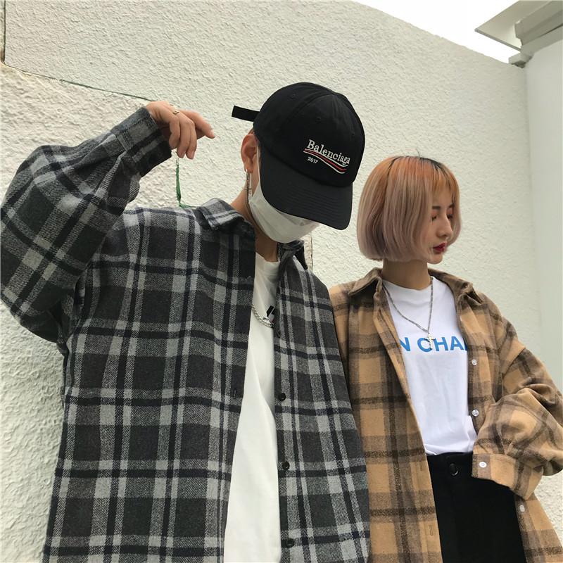 Весна корея INS harajuku стиль ретро решетки накладки одежда свободный bf любители длинный рукав шерстяной рубашка пальто мужской и женщины