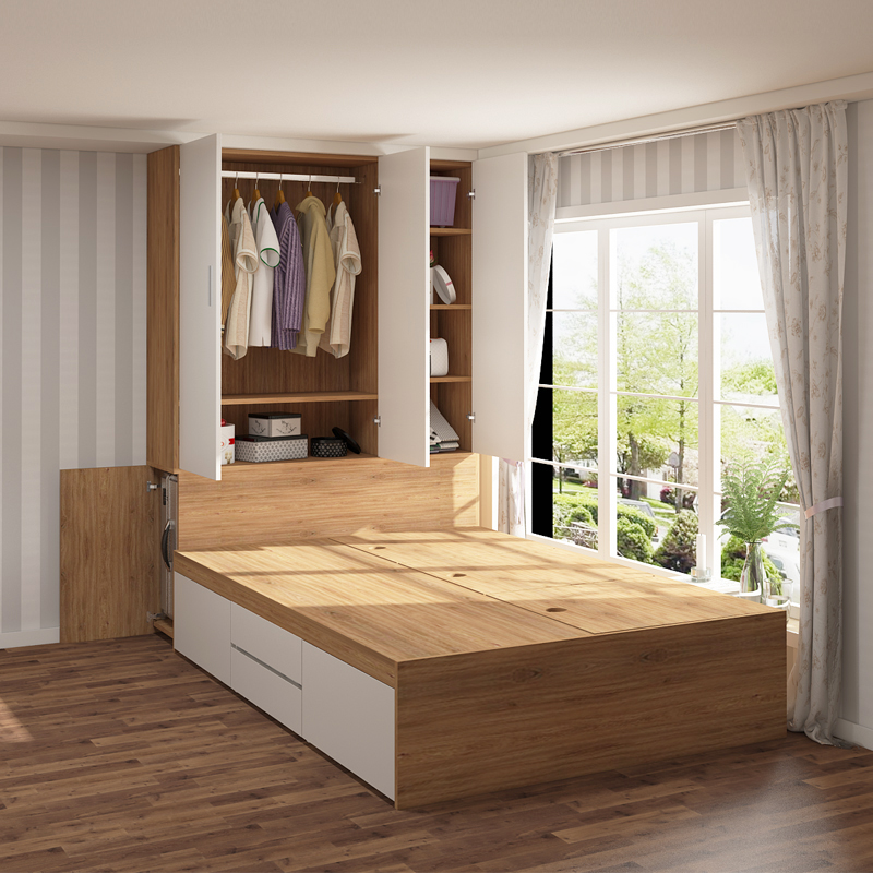 Modern minimalist tatami bed wardrobe one small household multi-function high-box storage collapse rice combination single bed