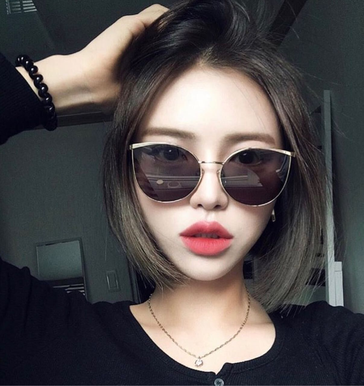 0da5e8f4744 USD 14.03  Korean tide wild cat eye light frame sunglasses female ...