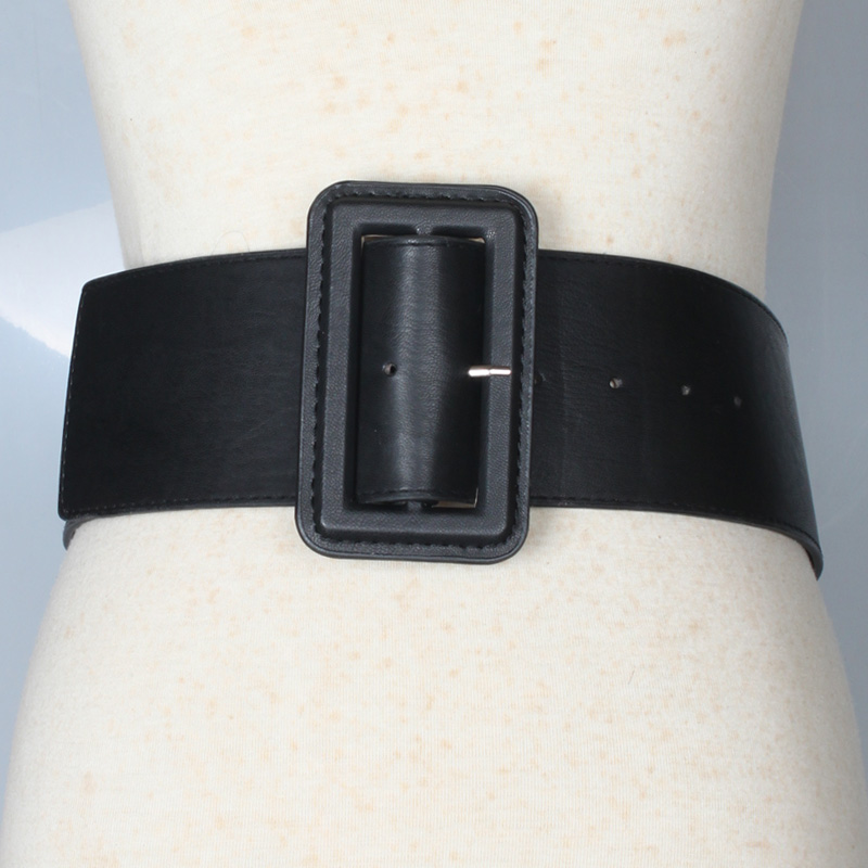 simple square buckle extra wide belt  NHJSR336952