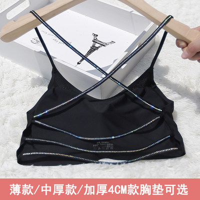 Sling small vest beauty back sexy ice ribbon chest pad gathered wrapped chest summer with drilling