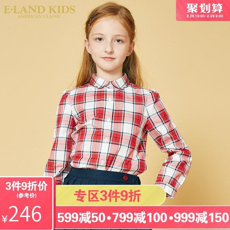 elandkids衣恋衬衫2019年春季新款童装长袖女童领花边格子