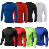 Sports fitness long-sleeved male bullet speed dry tight clothes breathable sweat stripe riding basketball training clothes autumn and winter