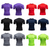 Fitness short-sleeved men's t-shirt sports gym training suit high-play running basketball compression speed dry clothes