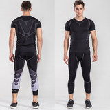Gym basketball seven pants running male stretch tight-fitting training 7 pants pro compression leggings spring