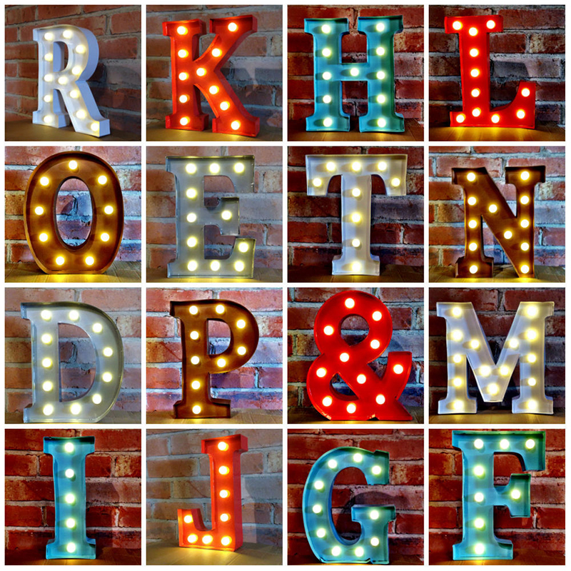 wedding letter lights nordic style ornaments led wedding props diy birthday gift luminous marriage table white