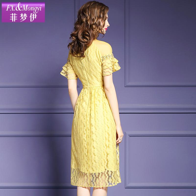 Feimengyi nữ ăn mặc mùa hè ăn mặc mới 2018 cổ áo thậm chí vai tay áo đính cườm là mỏng trong đầm ren dài 16666