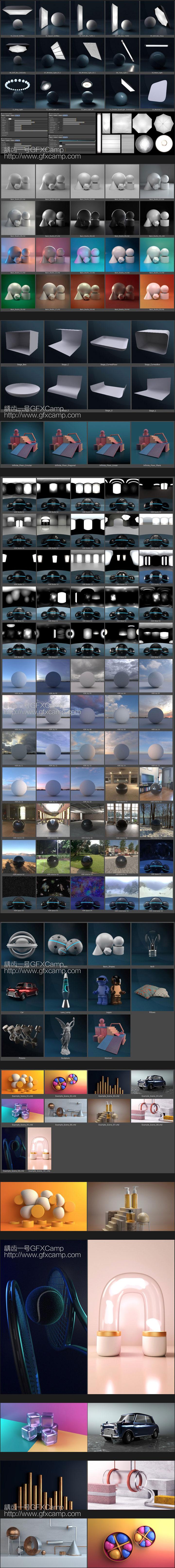 C4D阿诺德渲染器摄影棚舞台环境场景灯光预设